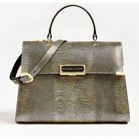 Belle Genuine Leather Python-look Print Handbag