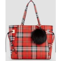 Guess Check Print Shopper With Pompom