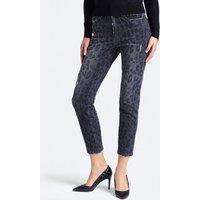 Animalier Print Abrasion Detail Jeans