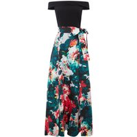 Tahari ASL Floral Ball Gown With Bow Sash, Multi-Coloured