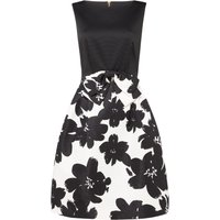 Tahari ASL Bow-Trimmed Fit-And-Flare Dress, Multi-Coloured