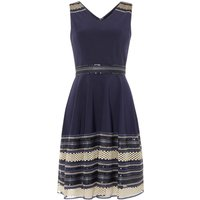 Tahari ASL Occasion Fit And Flare Dress With Gold Embellishm, Blue