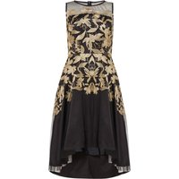 Tahari ASL Gold Embroidered Fit-And-Flare Dress, Multi-Coloured