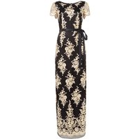 Tahari ASL Occasion Embroidered Evening Gown With A Satin Ri, Multi-Coloured