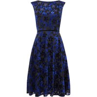 Tahari ASL Occasion Fit And Flare Dress With Velvet Floral P, Multi-Coloured