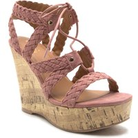 Qupid Kelsey strappy wedge with tie, Pink
