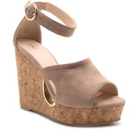 Qupid Hollow high wedge sandal, Pink