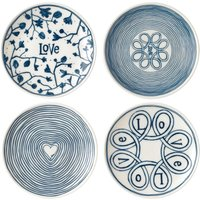 Royal Doulton Ellen DeGeneres 4 Blue Love Plates 15cm, Blue