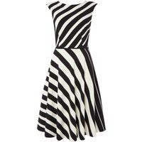 Tahari ASL Black and White Striped Fit and Flare Dress, Black