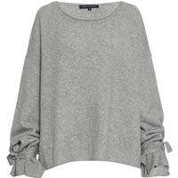 French Connection Tie Wrist Scoop Neck Knit Jumper, Light Grey
