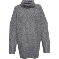 French Connection Riva Rib Knit High Neck Jumper, Grey