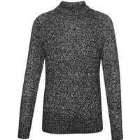 Men's French Connection Twisted Cable Knit Roll Neck Jumper, Black