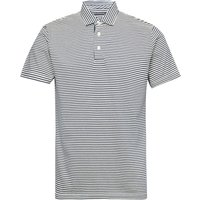 Men's French Connection Garment Dye Mini Stripe Polo Shirt, Blue