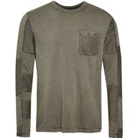 Men's French Connection Patchwork Terry Crew Neck T-Shirt, Seaweed Green