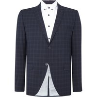 Men's Selected Homme Trey Navy Check Blazer, Blue