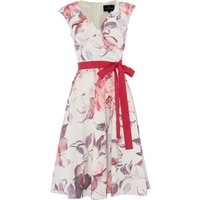 Ariella Fit and flare dress with tie waist, Pink