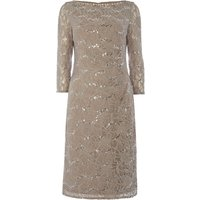 Eliza J Long sleeve sequin lace dress, Taupe