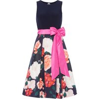 Eliza J Sleeveless Fit and Flare with Tie Belt, Blue & Pink