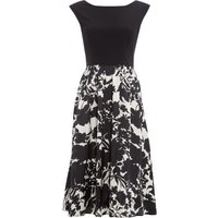 Ariella Cap sleeve dress with printed midi skirt, Black