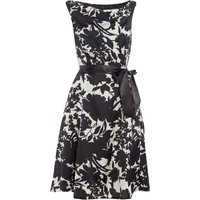 Ariella Cowl neck satin dress with tie belt, Black