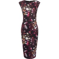 Therapy Nahia Micro Floral Scuba Dress, Black Multi