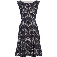 Shubette Embroidered lace fit and flare dress, Blue