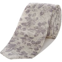 Kenneth Cole Manhatten Tonal Jacquard Floral Silk Tie, Silver