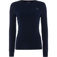 GANT Cotton crew neck cable jumper, Blue