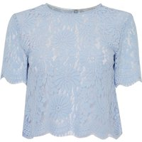 Ivy & Oak Three quarter length sleeve silver lace box top, Light Blue