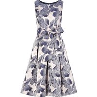 Eliza J FIT AND FLARE FLORAL PRINT WITH BELT, Grey