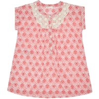 Benetton Baby Lace Trim Short-Sleeve Floral Dress, Pink - Floral Gifts