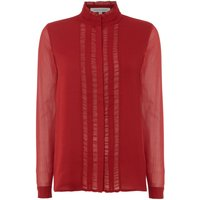 Second Female Long Sleeve Trooper Shirt with Sheer Detail, Maroon