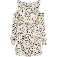 Mink Pink Sumatra cold shoulder leopard print tunic dress, White - Dress Gifts