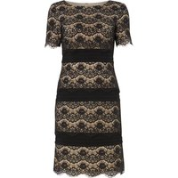 Eliza J Lace tiered shift dress with banding, Black