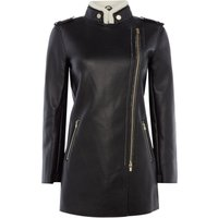 Armani Exchange Faux Leather Coat in Black, Black