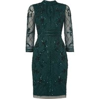 Adrianna Papell Long sleeve high neck embellished dress, Green