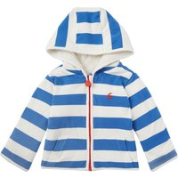 Joules Baby Girl Hooded Stripe Zip Through Sweater, Blue