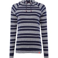 Joules Long sleeves hooded sweatshirt with lace tie, Blue Stripe