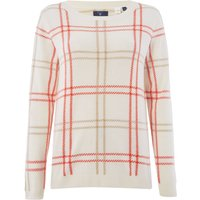 GANT Checked Lambswool Crew Neck Jumper, White