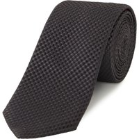 Hugo Textured Square Print Silk Tie, Black