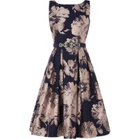 Eliza J Sleevless boat neck fit and flare dress, Blue