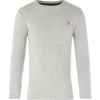 Farah Boys Crew Neck Logo T-shirt, Grey Marl