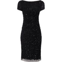 Adrianna Papell Cowl Neck Beaded Dress, Black