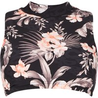 Seafolly TP Jungle Floral Cross Back Top, Black
