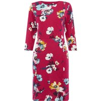 Joules 34 sleeves printed jersey shift dress, Pink - Seek Gifts