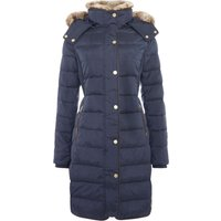 Joules Feather and Down Coat with Faux Fur Trim Hood, Marine