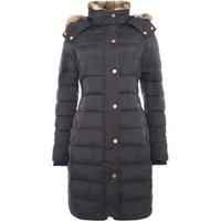 Joules Feather and Down Coat with Faux Fur Trim Hood, Black
