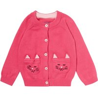 Joules Baby Girls Cat Pocket Cardigan, Pink
