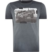 Mens Replay Garment Dyed Cotton Jersey T-Shirt, Nearly Black