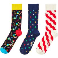 Men's Happy Socks Gift Box 3 pack sock christmas, Multi-Coloured